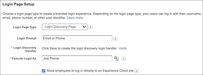 Login page setup options on Login & Registration page screenshot