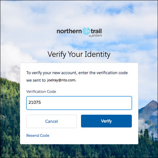 Verification code on the Verify page screenshot
