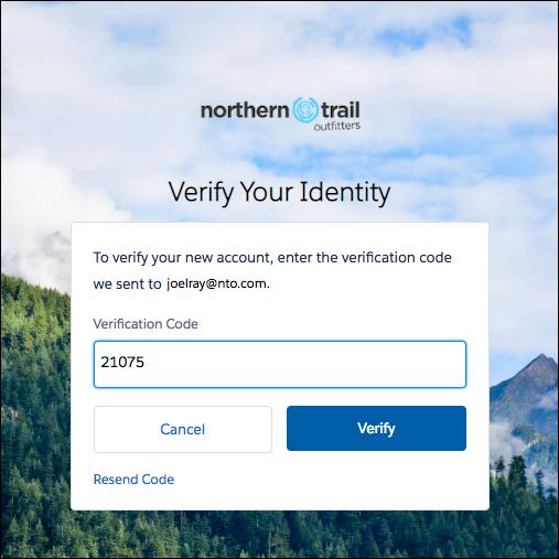 Verification code on the Verify page screenshot