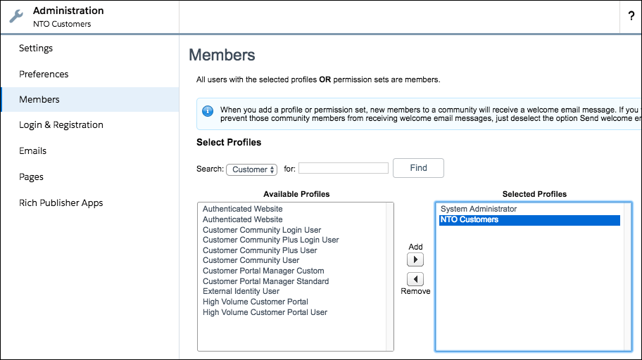 Assign profiles to members screenshot