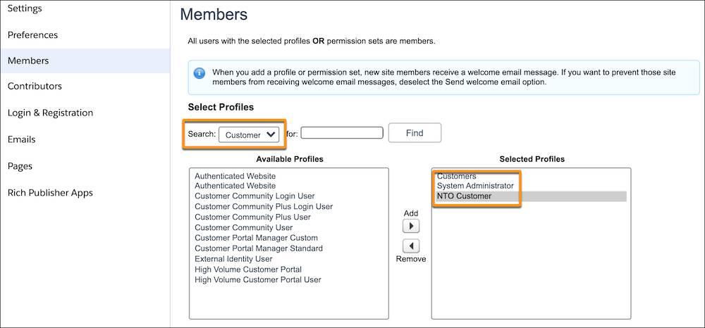 Assign profiles to members screenshot