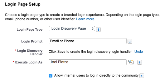 Login page setup options on Login & Registration page screenshot