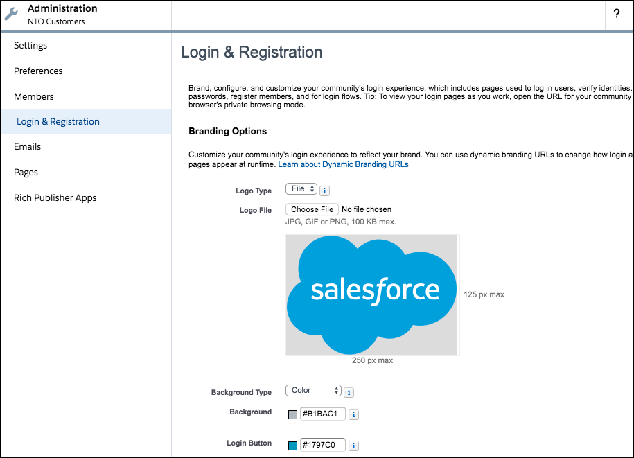 Login & Registration page screenshot