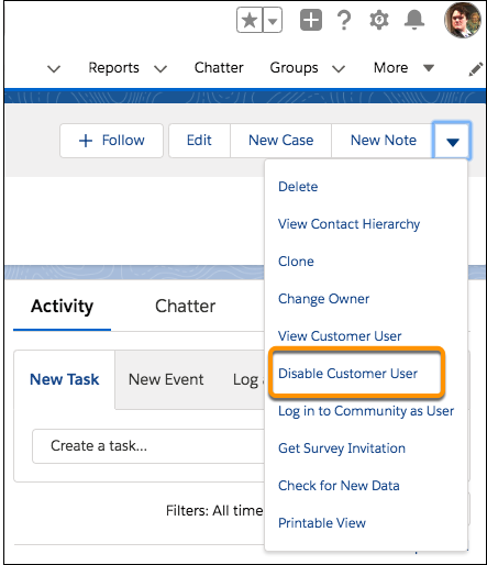 Disable customer user from Contacts