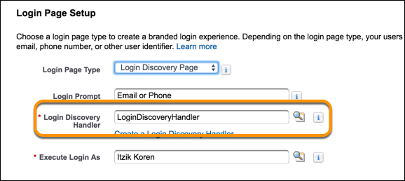New login discovery handler name on Login & Registration page screenshot