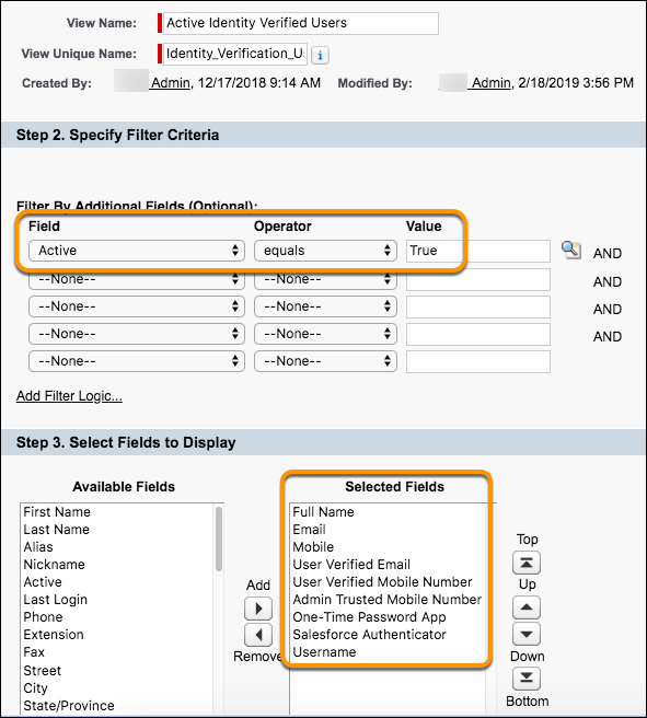 User fields for MFI users View screenshot