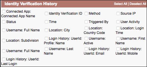 Fields for custom identity verification report type screenshot