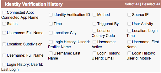 Fields for custom identity verification report type screenshot