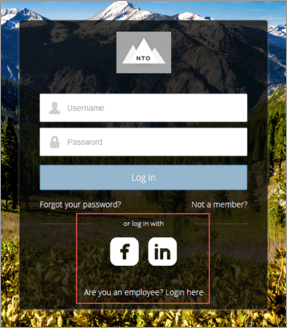 Social sign-on login page