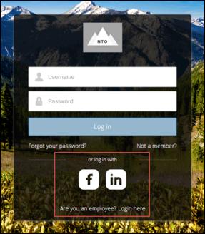 Seite zur Anmeldung über soziale Netzwerke (Social Sign-On)