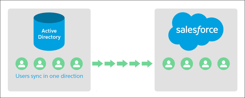 Active Directory から Salesforce への一方通行のデータ転送