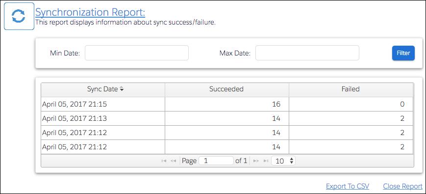 Synchronization report