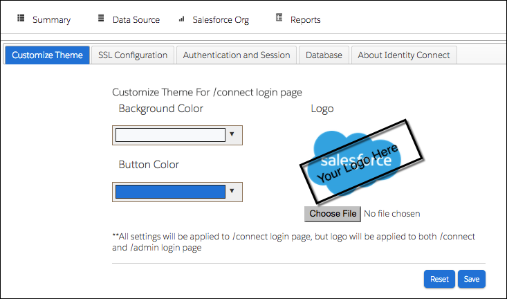 Login page with Salesforce logo that can be replaced