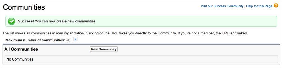 Bestätigung für die Aktivierung von Communities