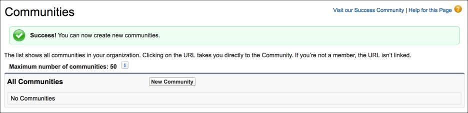 コミュニティが有効になったことの確認