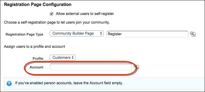 Remove default account from Person Account self-registration