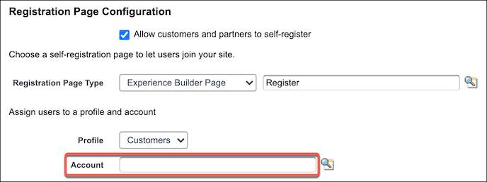 Update accounts on the Registration Page Configuration