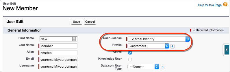 User record for new customer