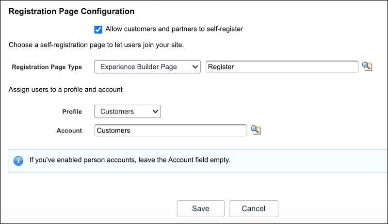 Registration Page Configuration screenshot