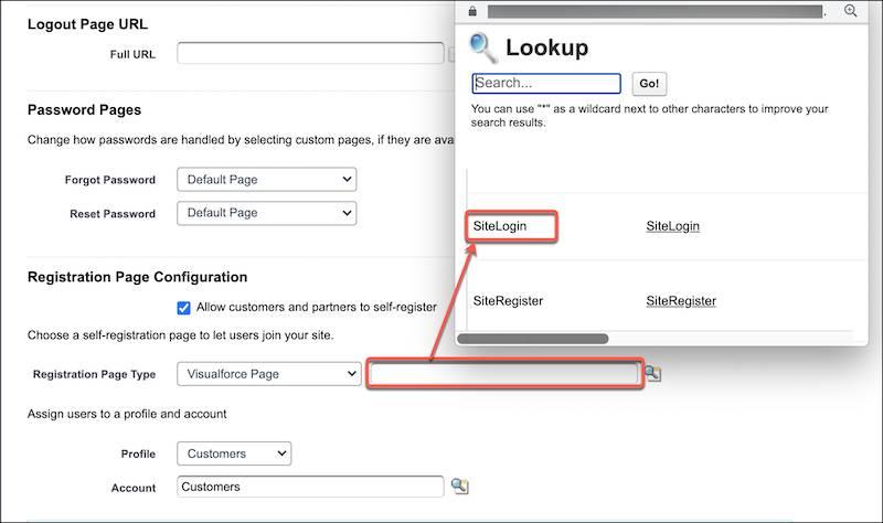 [ログイン & 登録] ページに「SiteLogin」という Visualforce ページを割り当てる