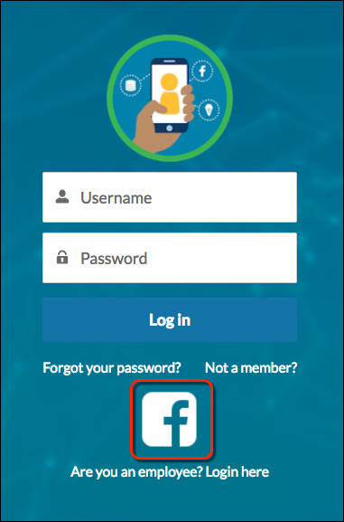 Login page with Facebook logo