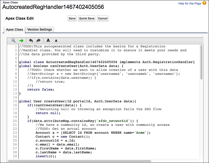 Registration handler Apex class