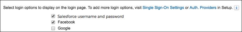 ログイン設定ページの Facebook オプション