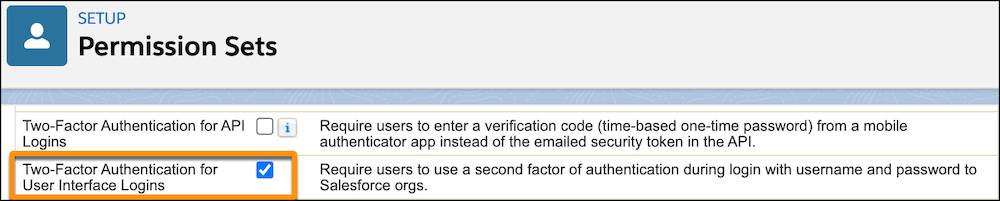 Berechtigung 'Zwei-Faktoren-Authentifizierung für Anmeldungen auf der Benutzeroberfläche' ausgewählt