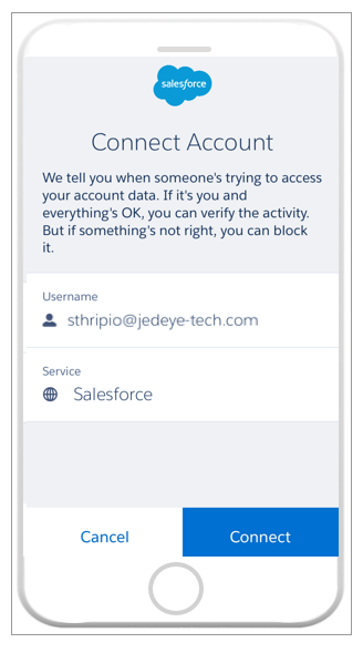 Salesforce Authenticator connect account