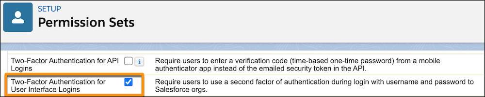 「ユーザインターフェースログインの 2 要素認証」権限が選択されている