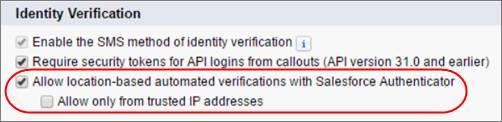 Configurações de sessão que controlam verificações automatizadas baseadas em local