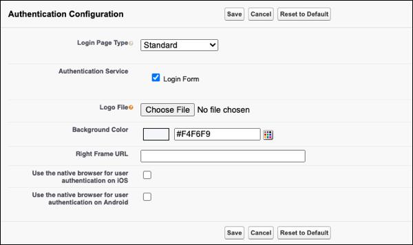 My Domain authentication configuration options