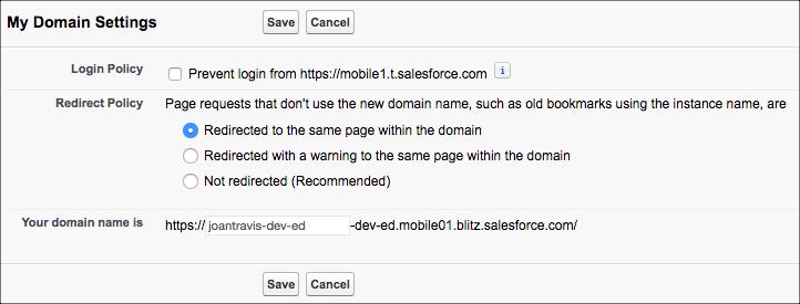 My Domain settings