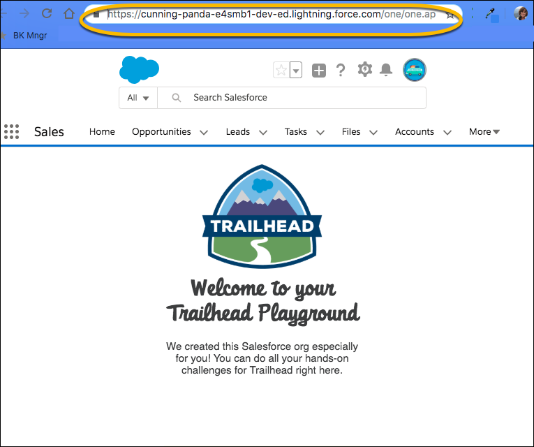 Name of Trailhead Playground appears in browser address bar