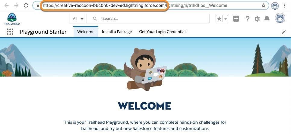 Der Name des Trailhead Playgrounds wird in der Adressleiste des Browsers angezeigt