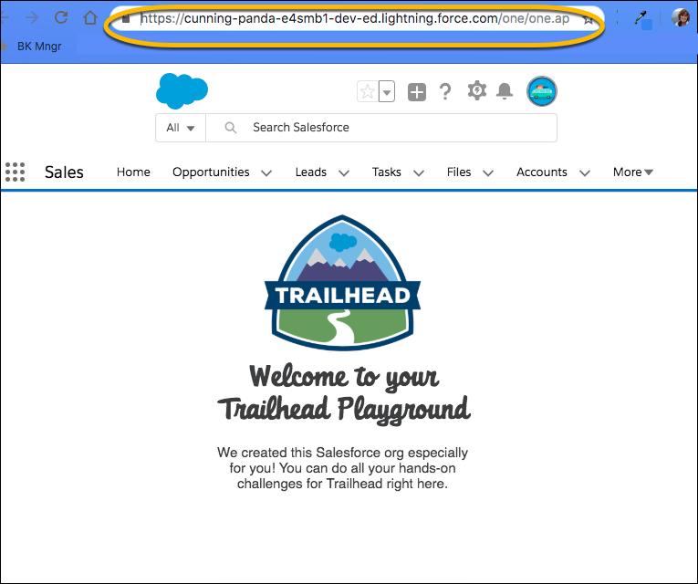 Der Trailhead Playground-Name wird in der Adressleiste des Browsers angezeigt