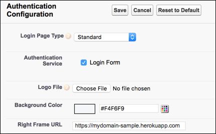 Configuração da página de login