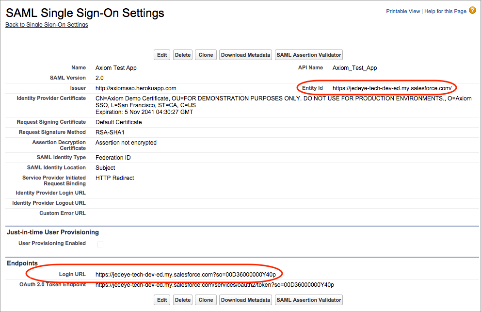 SAML single sign-on settings to enter in Axiom
