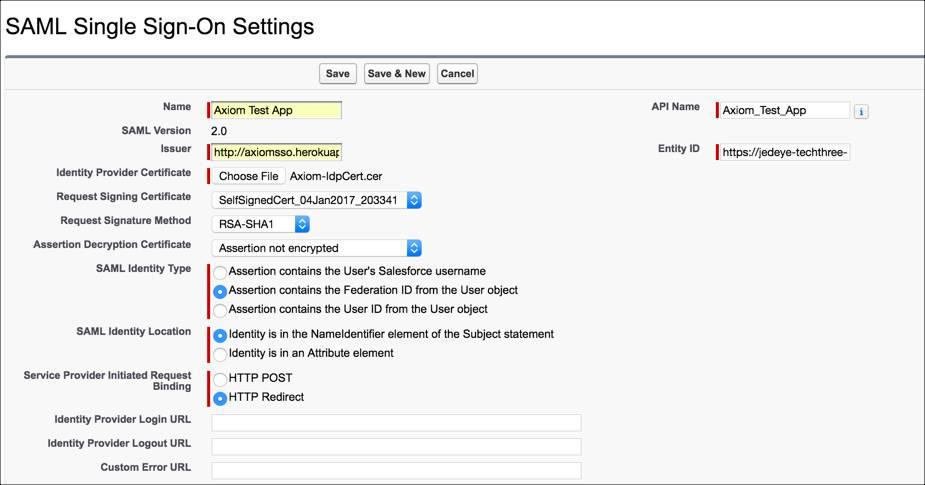 Page des paramètres SSO SAML de Salesforce avant enregistrement