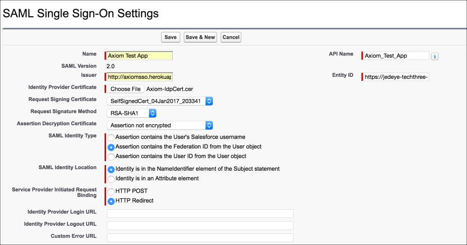 [保存] をクリックする前の Salesforce SAML SSO 設定ページ