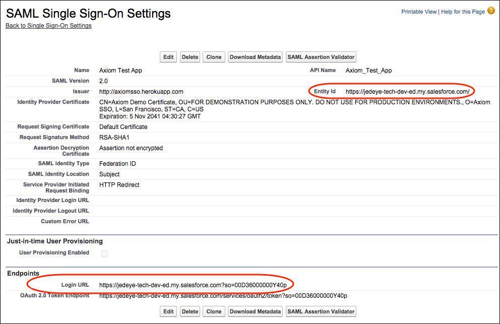 Configurações de login único do SAML para inserir no Axiom