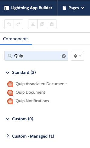 Screen view of Quip search with Quip options noted.