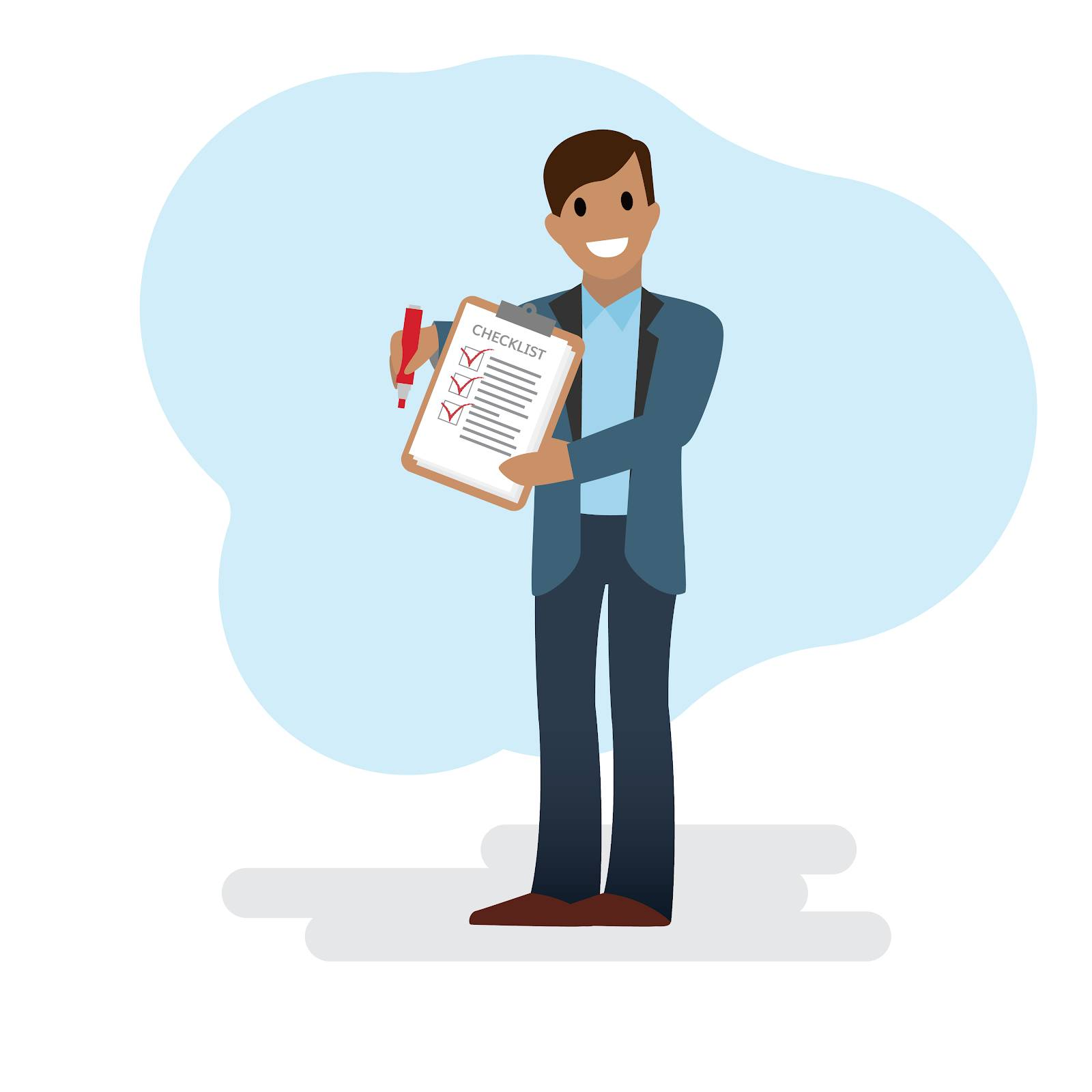 A young man, a Salesforce admin, smiles and holds a clipboard with three checkboxes. He has a pen in one hand and is in the process of checking boxes off his checklist.