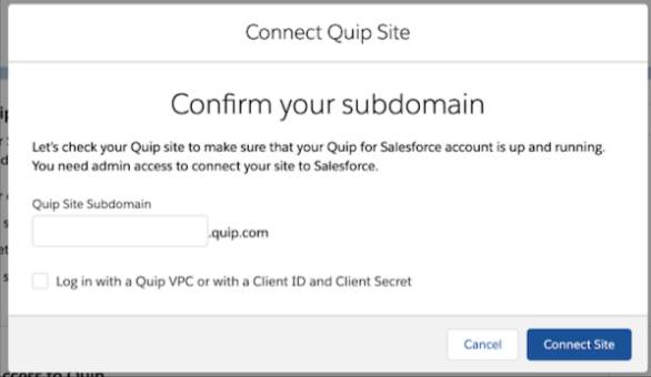 Screen view of popup: Confirm your subdomain.