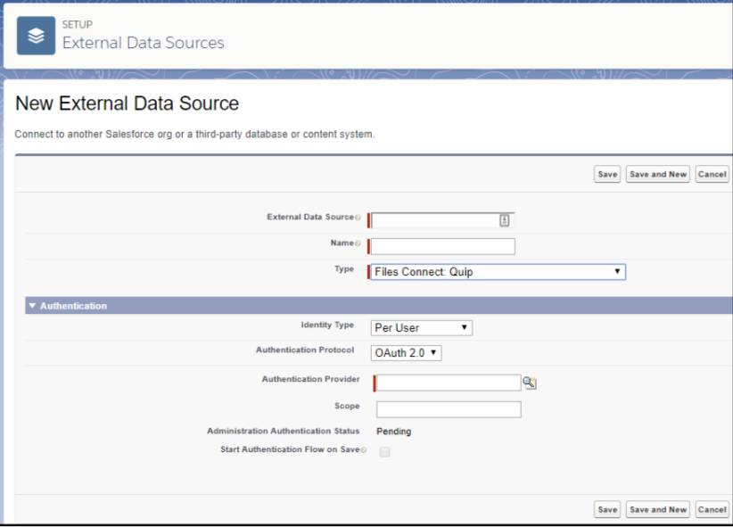 Screen view of New External Data Source page.