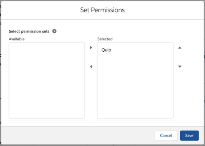 Screen view of Set Permissions popup window.