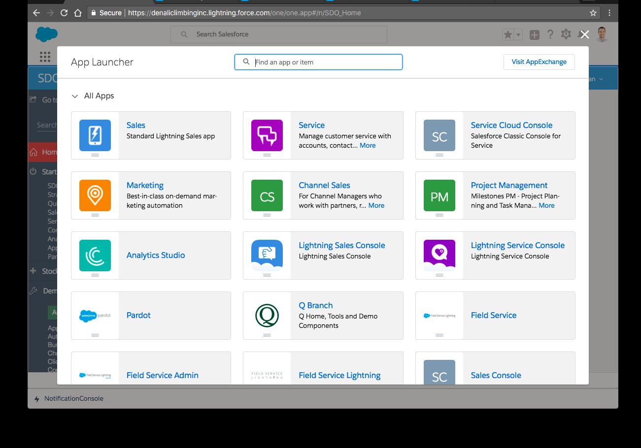 Screen view of App Launcher.