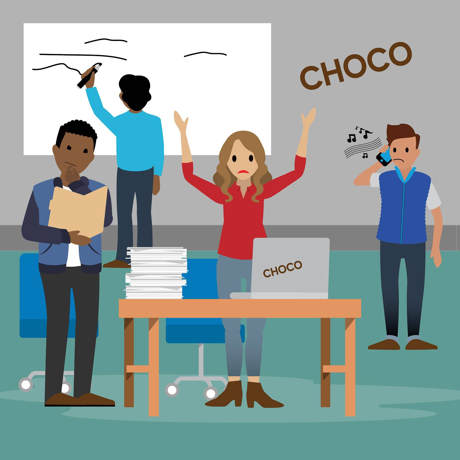 Emma, owner of Choco Chocolate Company, stands in the middle of a room looking perplexed with her hands in the air. Four other salespeople are in the room with her. One looks bored and is on hold on the phone, one has his hand on his chin and is sorting through a file folder looking lost, and the last is checking a white board looking confused.