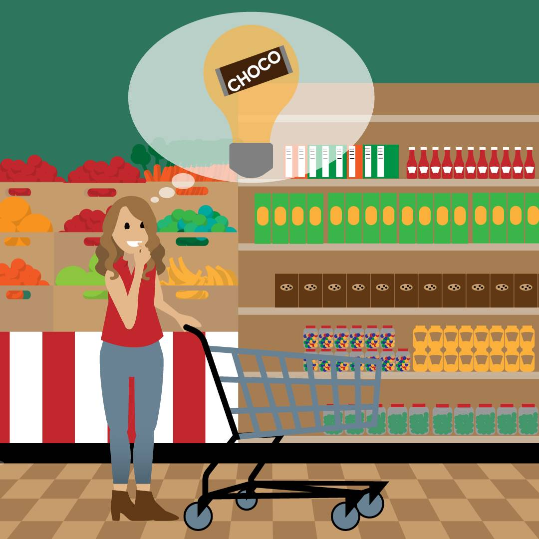 Emma stands in the supermarket with a shopping cart, looking at the chocolate aisle. A thought bubble appears above her head with a lightbulb and Choco chocolate bar inside.