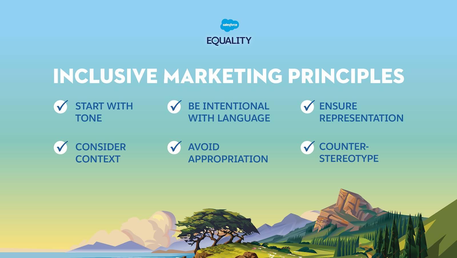 Gráfico mostrando los seis principios del marketing inclusivo que se enumeran a continuación.
